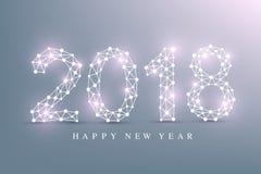 Text o Natal do projeto e o ano novo feliz 2018 Uma comunicação gráfica do fundo Linhas conectadas com pontos Projeto ilustração stock