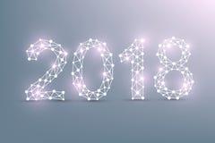 Text o Natal do projeto e o ano novo feliz 2018 Uma comunicação gráfica do fundo Linhas conectadas com pontos Projeto ilustração do vetor