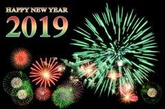 Text och fyrverkerier för lyckligt nytt år 2019 arkivfoto