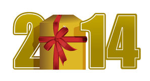 Text och gåva för nytt år 2014 Arkivfoto