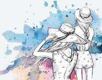 Text och teckning av flickan Flickor i hattar på en vattenfärgbakgrund Arkivbilder