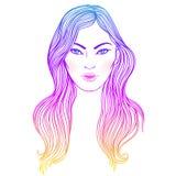 Text och teckning av flickan Frisyr färgat blått hår Hand dragen vect royaltyfri illustrationer