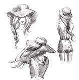 Text och teckning av flickan tecknad hand Flickor i hattar royaltyfri illustrationer