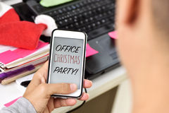 Text office christmas party on a smartphone