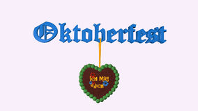 Text `Oktoberfest` with gingerbread heart stock illustration