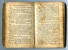Text in an old book. With stained pages Royalty Free Stock Images