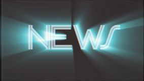 Shiny NEWS word text white light rays moving on old vhs tape retro effect tv screen animation background seamless loop -. Text on old tv interference screen stock footage