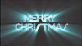 Shiny MERRY CHRISTMAS word text white light rays moving on old vhs tape retro effect tv screen animation background. Text on old tv interference screen ... New stock video