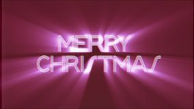 Shiny MERRY CHRISTMAS word text pink light rays moving on old vhs tape retro effect tv screen animation background. Text on old tv interference screen ... New stock footage