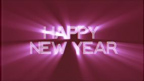 Shiny HAPPY NEW YEAR word text pink light rays moving on old vhs tape retro effect tv screen animation background stock footage