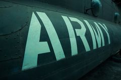 Text on an old war Airplane. Text army on an old war Airplane Stock Photography