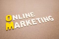 Text-Online-Marketings-Benennung auf braunem Hintergrund lizenzfreie stockfotos