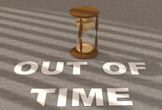 Text Out of time. With clock on concrete Stock Photo