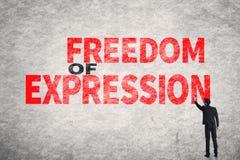 Text på väggen, yttrandefrihet Arkivfoto