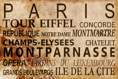 Text with Paris landmarks on Eiffel Tower vintage background. Text with Paris landmarks on Eiffel Tower vintage sepia background royalty free stock photo