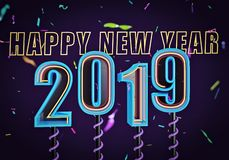 2019 text with party confetti 3d rendering stock image