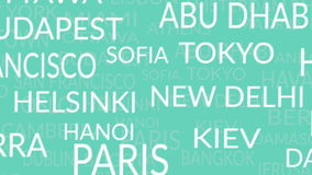 Text pattern with name of city and capitals stock footage
