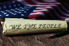 Text we the people and flag of USA Stock Images