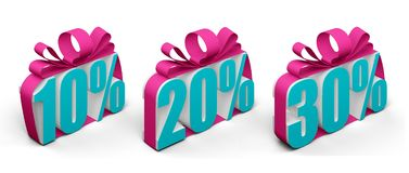 Text 10 20 30 percent tied with a bow. 3d rendering Royalty Free Stock Images