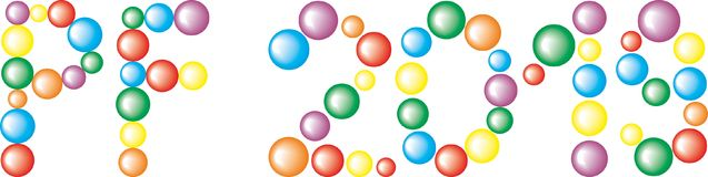 Text PF 2019 from colored Balls isolated on the white Background. Text PF 2019 from the colored Balls isolated on the white Background Stock Images