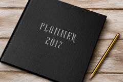 Text planner 2017 in a notebook Royalty Free Stock Image