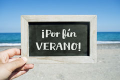 Text Por Fin Verano, Finally Summer In Spanish Royalty Free Stock Photos