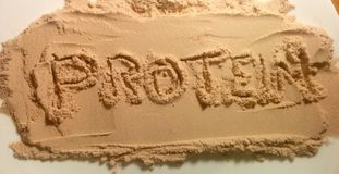 Text on protein powder - protein. On white plate Royalty Free Stock Photo