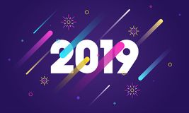 2019 text on purple abstract background for New Year celebration. Can be used as greeting card design royalty free illustration