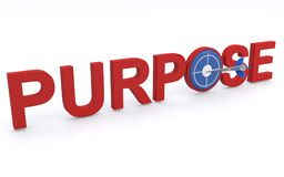 """Purpose. Text """"purpose"""" in 3D uppercase red letters but with letter """"o"""" replaced by a dart board and dart on bulls eye. Concept of aiming to achieve an Royalty Free Stock Images"""