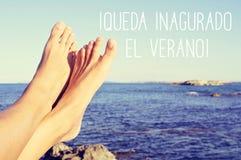 Text queda inaugurado el verano, the summer is inaugurated in Sp royalty free stock photo