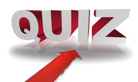 Quiz. Text 'quiz' in white and red bold 3D  uppercase letters  with large red arrow below and white background with reflections Royalty Free Stock Images
