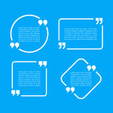 Text quote frames set. On blue background Stock Photography