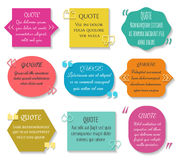 Text quotes box set. Vector texting quote sentence colored elements. Message comment description in textbox illustration Royalty Free Stock Photography
