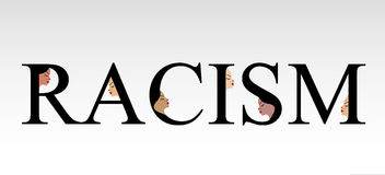 Text racism with faces Royalty Free Stock Photography