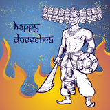Text and Ravana in fire. Postcard for holiday in India. Happy Dussehra Royalty Free Stock Image