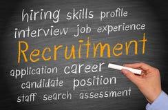 Text 'Recruitment' on chalkboard  Stock Photos
