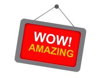 Amazing. Text on red notice  board reading 'wow! amazing' in  bold uppercase letters and with the  board hanging from a pin on a white wall Royalty Free Stock Photos
