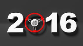 2016 text with red steering car wheel Royalty Free Stock Photography