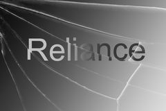 The text Reliance on the broken glass. Concept of losing reliance confidence hopes royalty free stock image