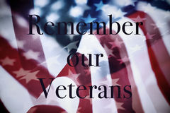 Text remember our veterans and the flag of the US. The text remember our veterans and the flag of the United States Royalty Free Stock Images