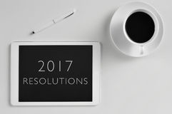 Text 2017 resolutions in a tablet Stock Photography