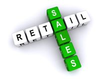Retail sales. Text 'retail sales' inscribed in uppercase letters on small cubes and arranged crossword style with common letter 'a' white background royalty free illustration