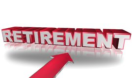 Retirement. Text 'retirement' in uppercase 3D silver and red letters with large red arrow below Stock Photos