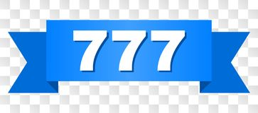 Blue Tape with 777 Caption. 777 text on a ribbon. Designed with white title and blue stripe. Vector banner with 777 tag on a transparent background stock illustration