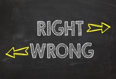 Text Right and Wrong. Right and Wrong information concept royalty free stock photos