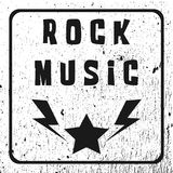 Text of Rock Music. A star with lightning. Grunge background, fr Stock Photos
