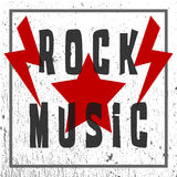 Text of Rock Music. Star and Lightning. Grunge texture and frame Royalty Free Stock Photos
