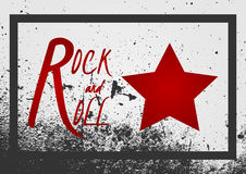 Text Rock and Roll, star sign. Background grunge texture with fr Stock Image