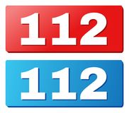 112 Caption on Blue and Red Rectangle Buttons. 112 text on rounded rectangle buttons. Designed with white title with shadow and blue and red button colors royalty free illustration