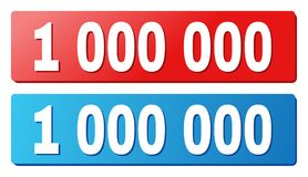 1 000 000 Caption on Blue and Red Rectangle Buttons. 1 000 000 text on rounded rectangle buttons. Designed with white title with shadow and blue and red button stock illustration